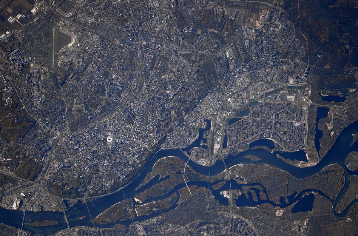 Более детальный вид на Киев с высоты