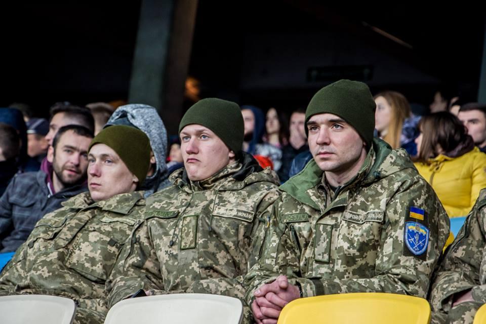 Военные пришли посмотреть матч