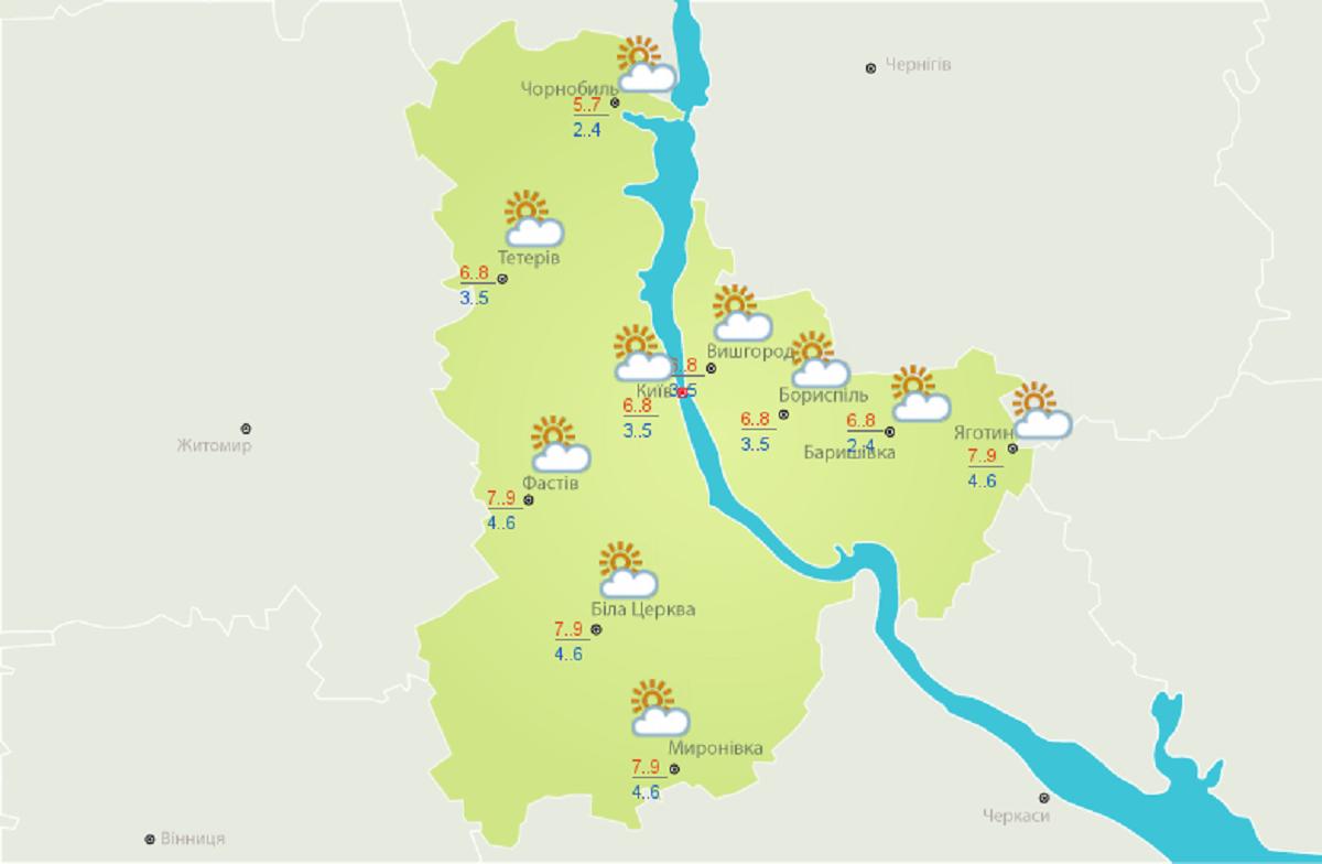 Погода в Киеве на 22 октября