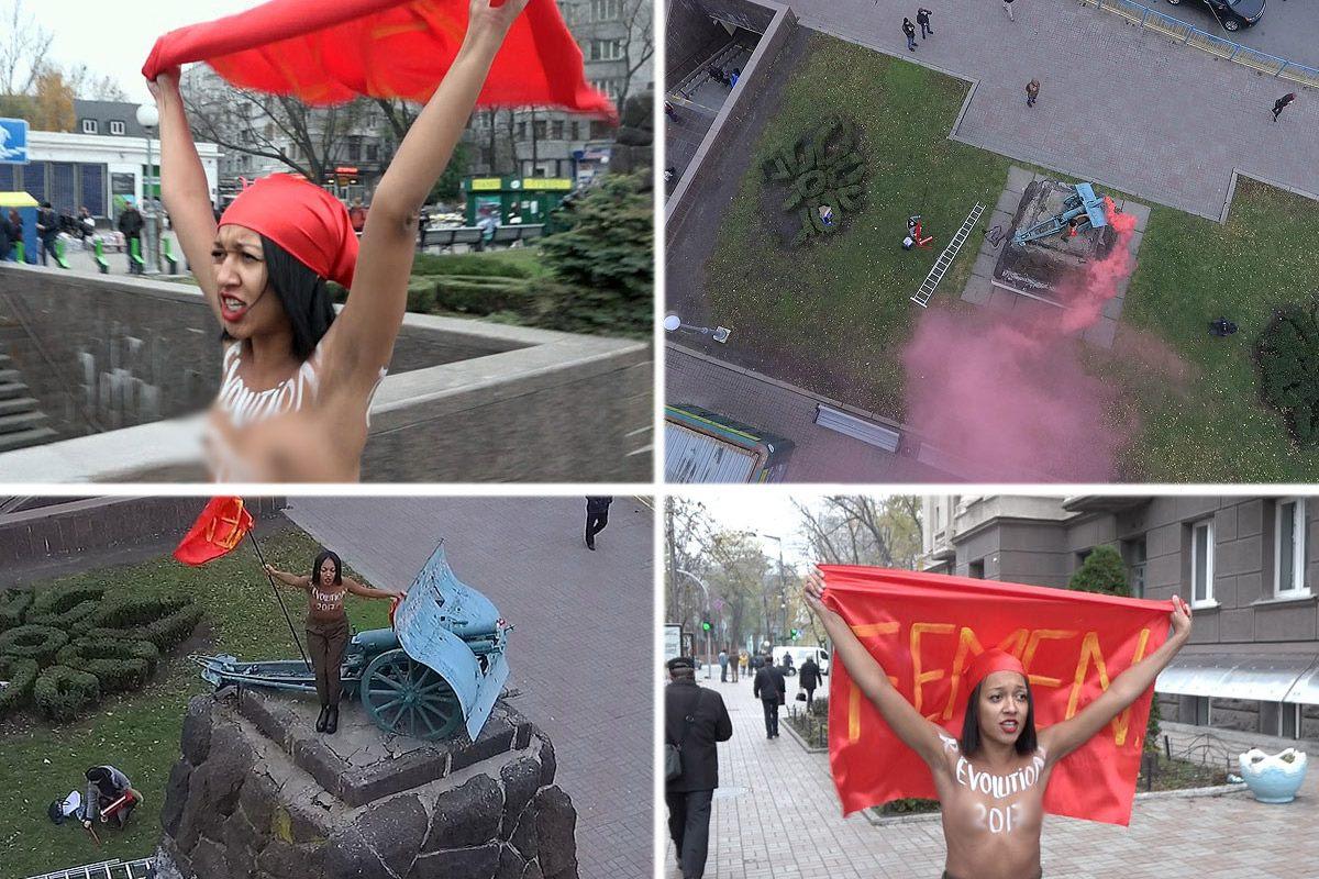 Девушка из FEMEN, решившая провести акцию в честь столетия революции