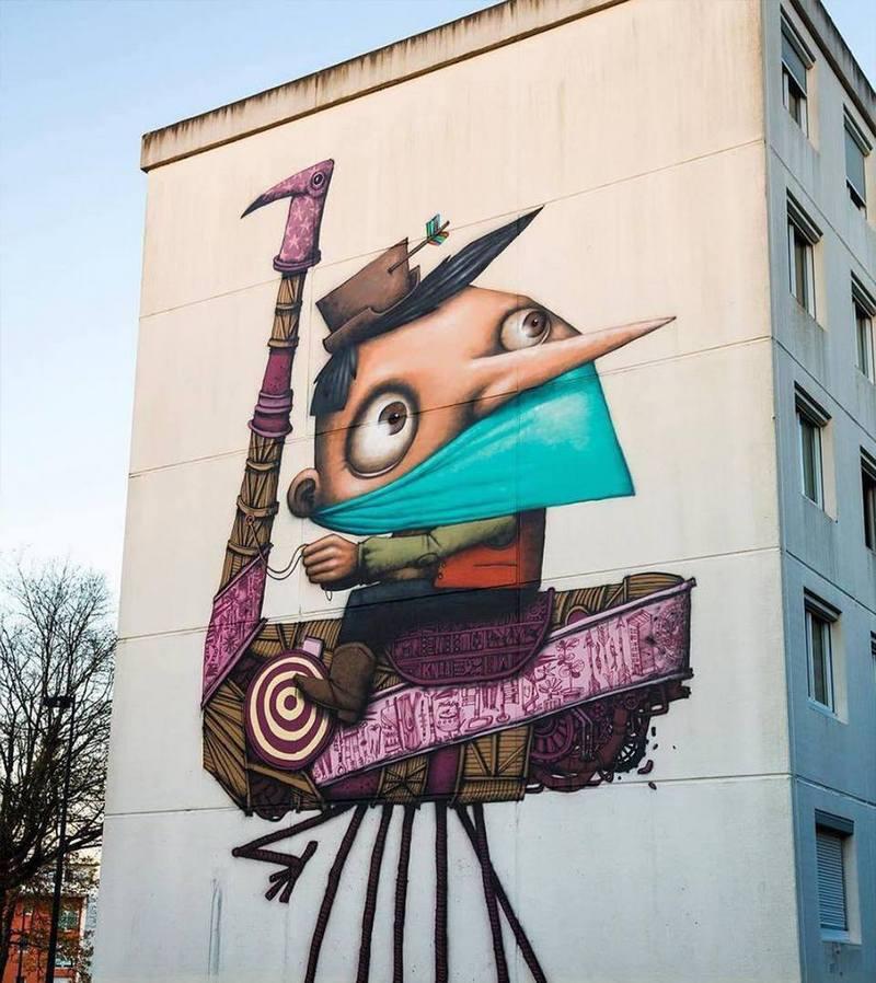 Яркая картина в городе Нант во Франции