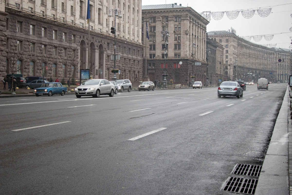 В центре Киева даже нет машин. Практически