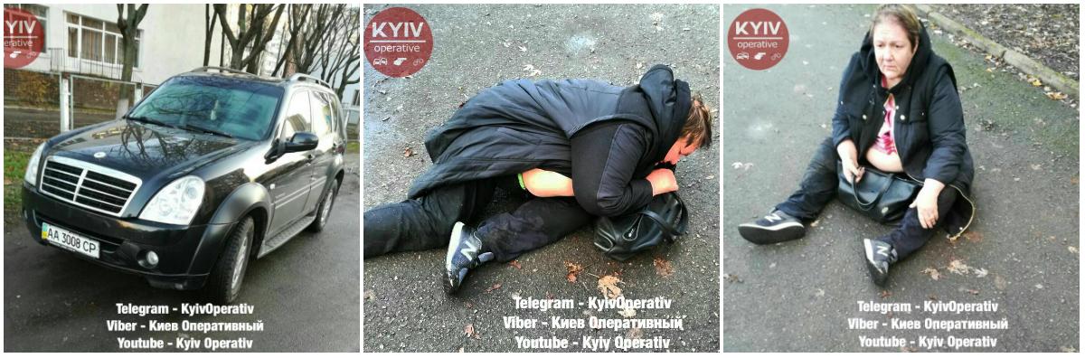 Женщина была настолько пьяна, что когда выходила из машины упала и начала засыпать