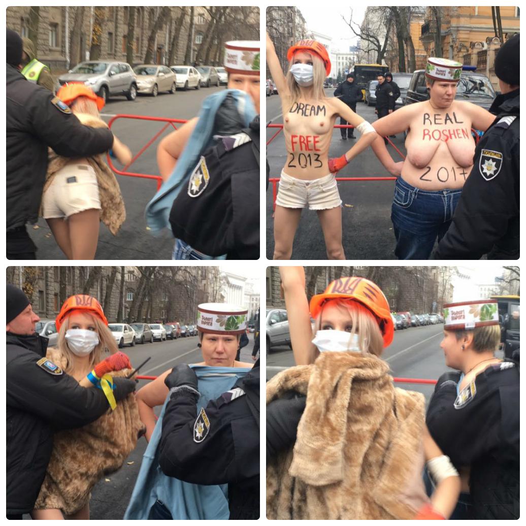 Акция Femen под АП в день годовщины Евромайдана