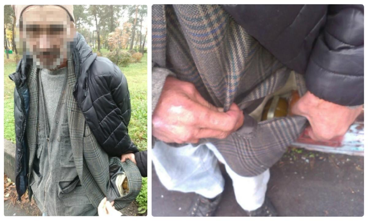 Задержанный мужчина с гранатой
