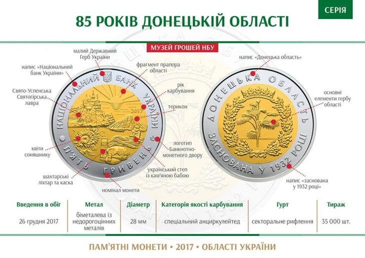 "Монета ""85 лет Донецкой области"""