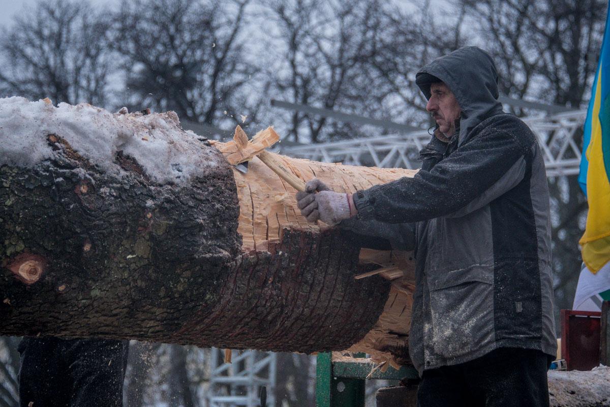Для уменьшения диаметра елки работники с топором и бензопилой снимают с дерева кору