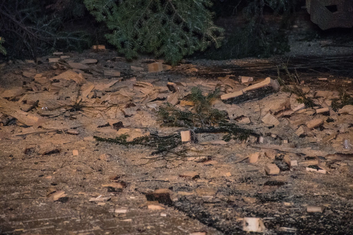 От елки осталось много опилок на Софийской площади