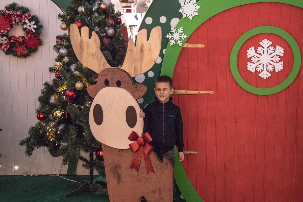 Рождественский олень притягивает к себе маленьких посетителей