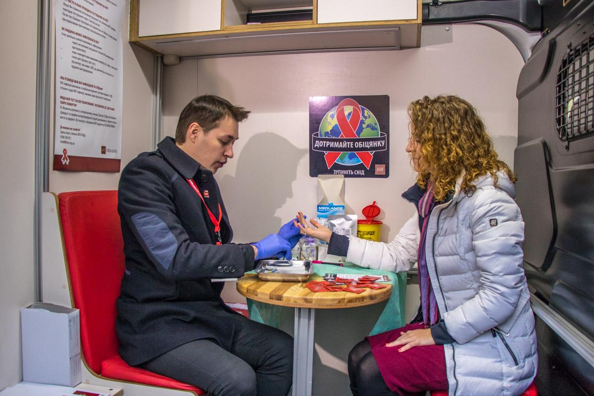 Во Всемирный день борьбы со СПИДом киевлянам также предлагали бесплатно пройти экспресс-тест на на ВИЧ в передвижном пункте