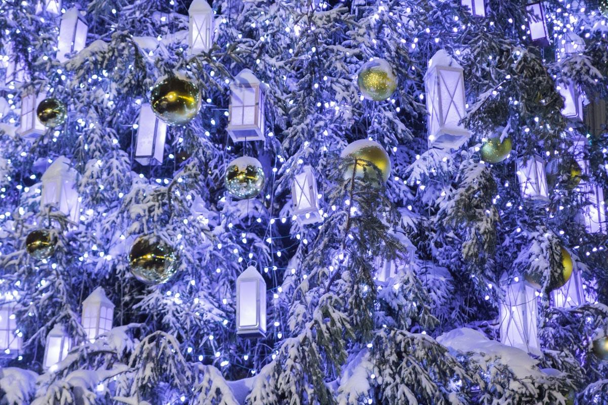 На елке сотни фонариков и шаров
