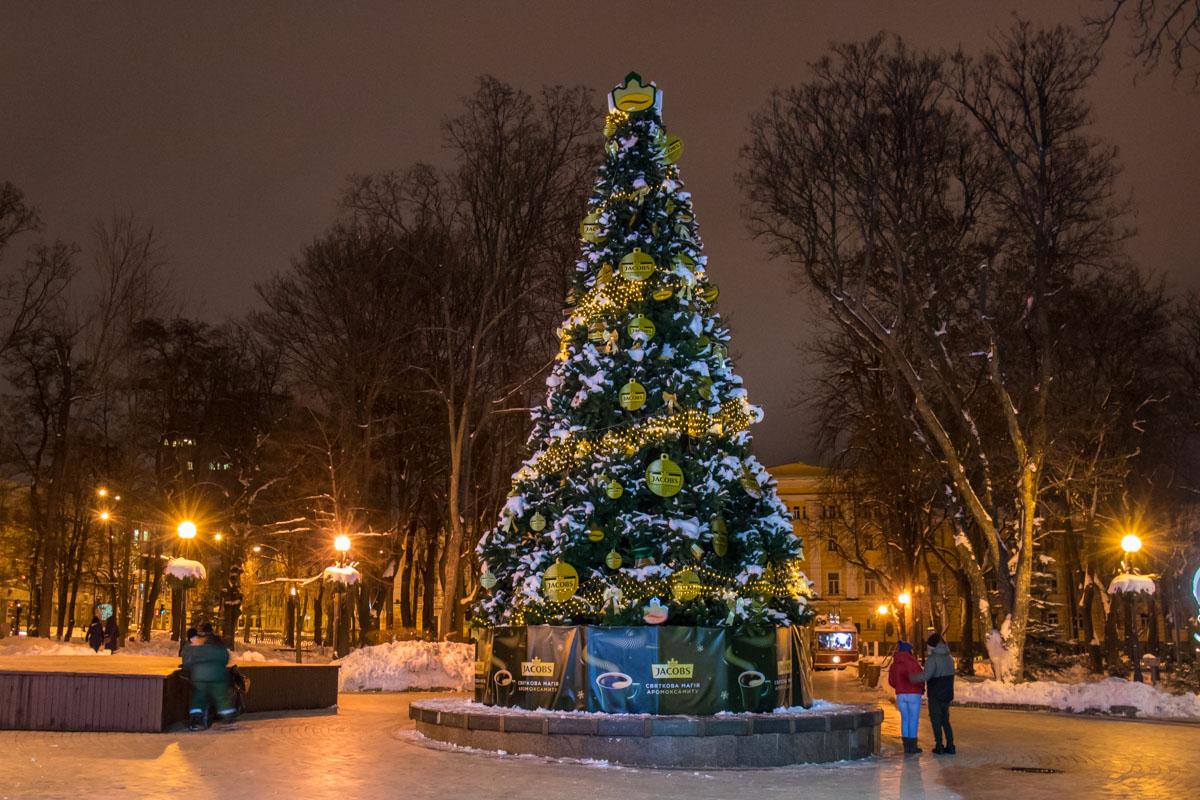 Возле праздничной красавицы в парке Шевченко даже ночью гуляют влюбленные парочки