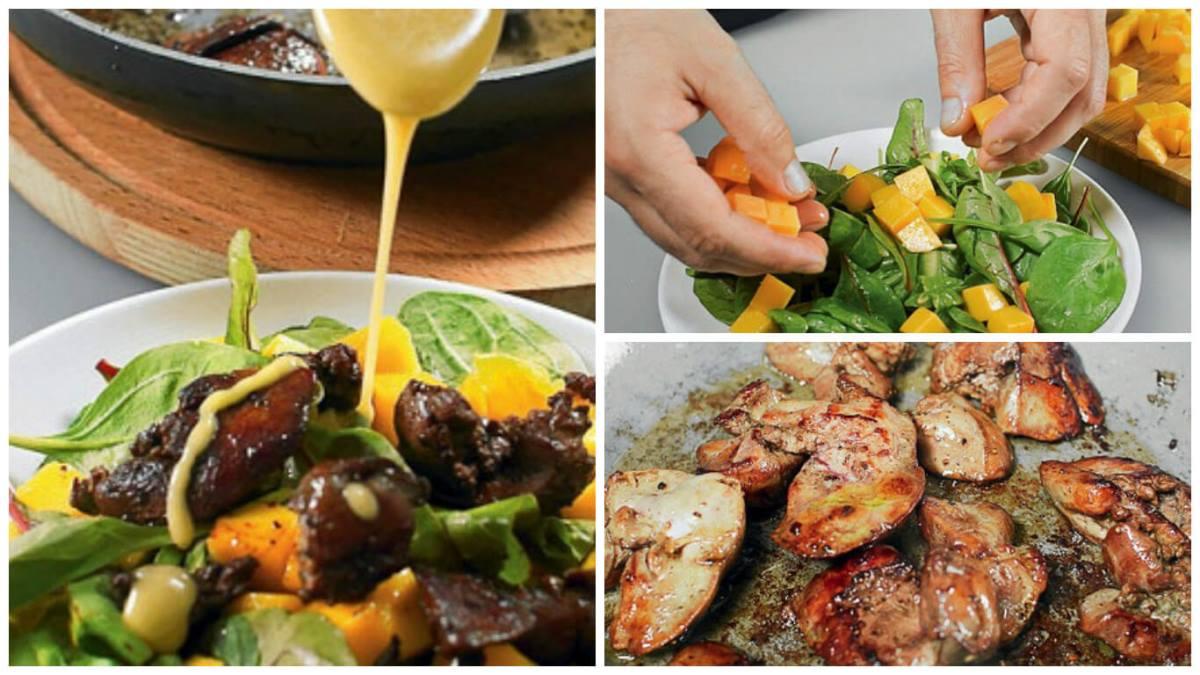 Теплый салат с куриной печенью и манго
