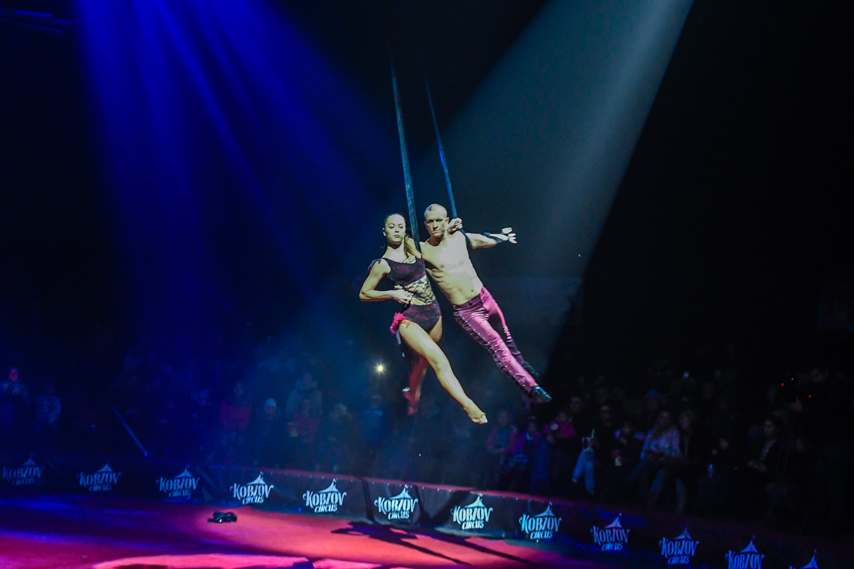 Воздушные гимнасты Надежда и Виктор Полищук вместе даже под куполом