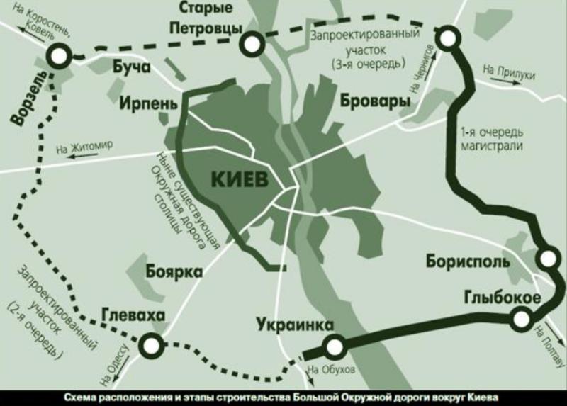 Также вокруг Киева в этом году начнут строить Большую окружную дорогу