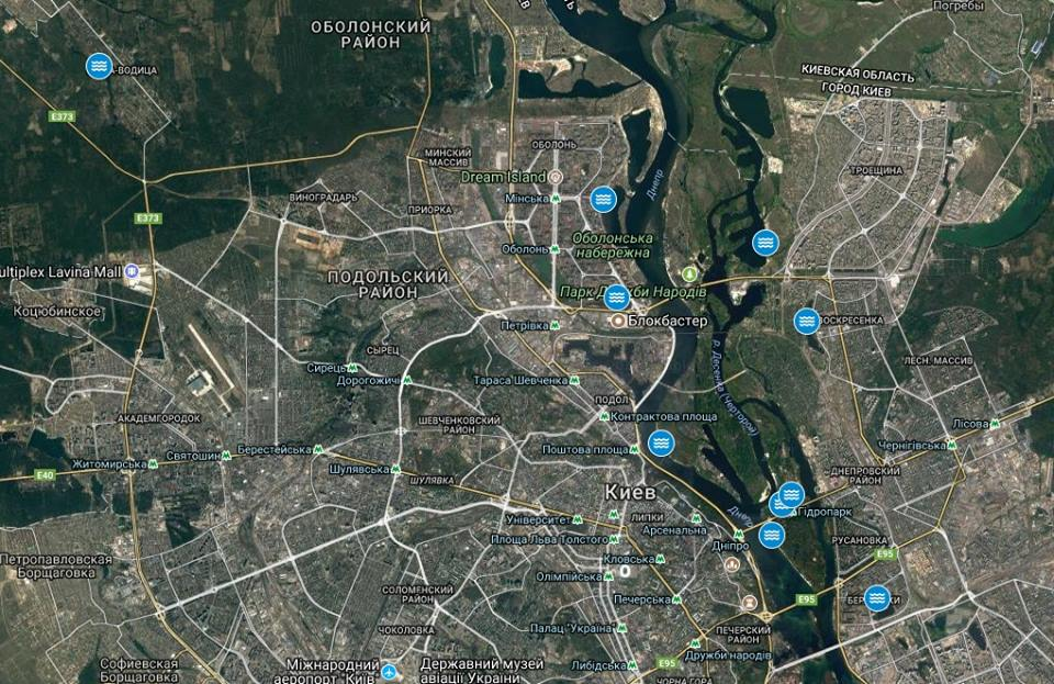 Карта мест, где можно искупаться на Крещение