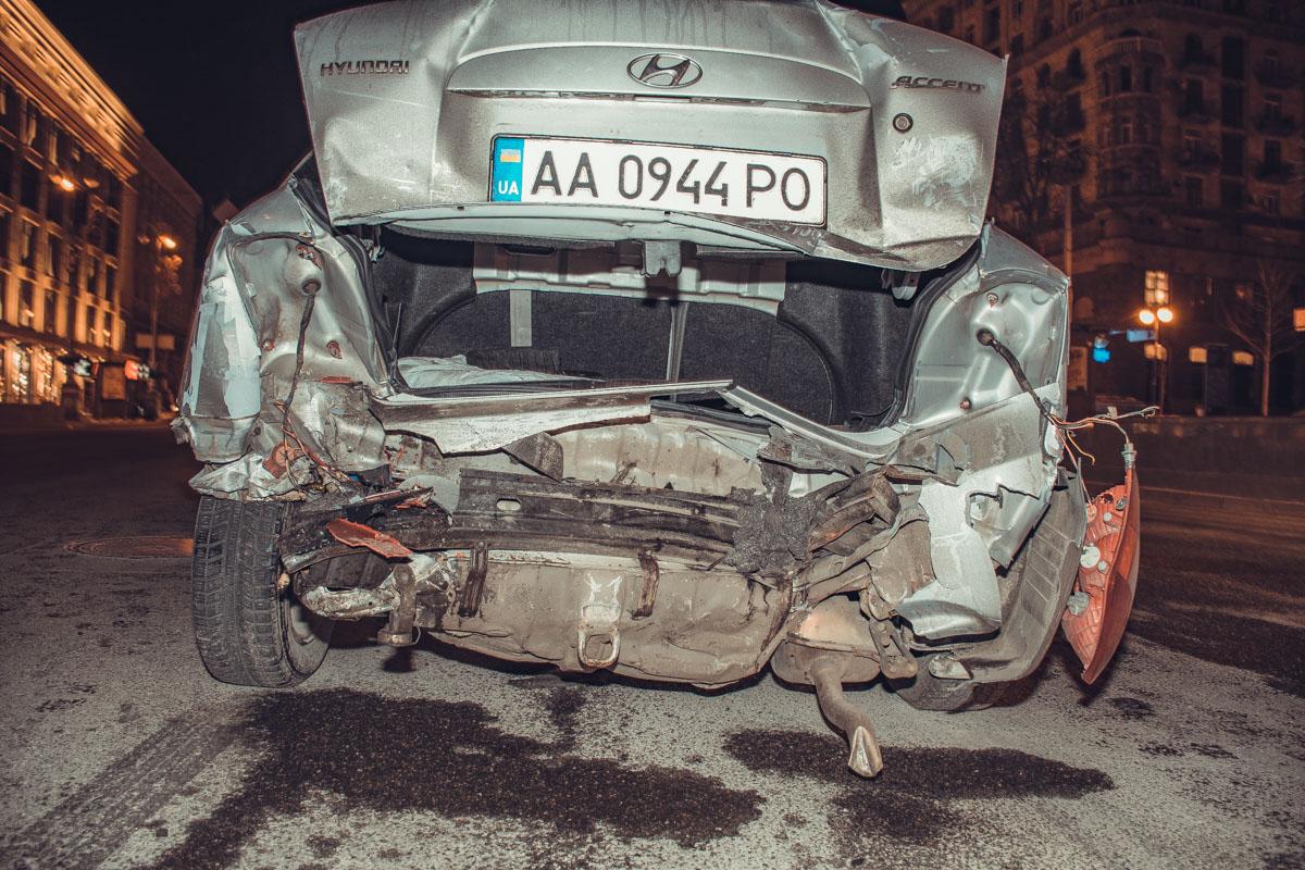 Одни из самых серьезных повреждений - у HyundaiAccent