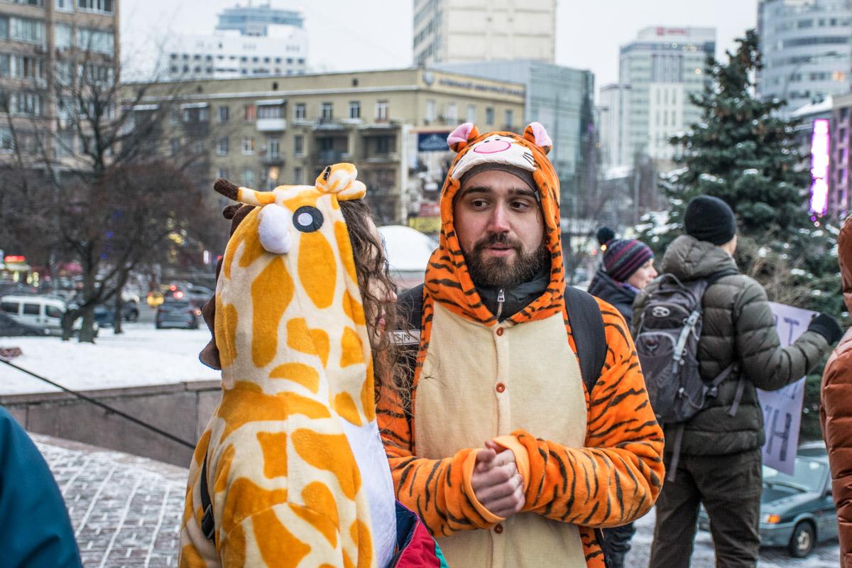 На акцию протеста поддерживали и сами дикие животные