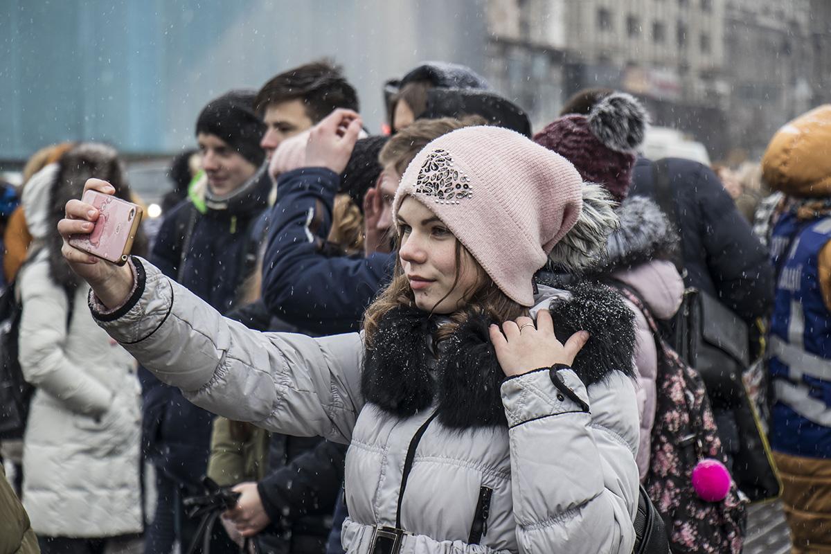 Несмотря на непогоду, народ вышел на Крещатик поучаствовать в акции