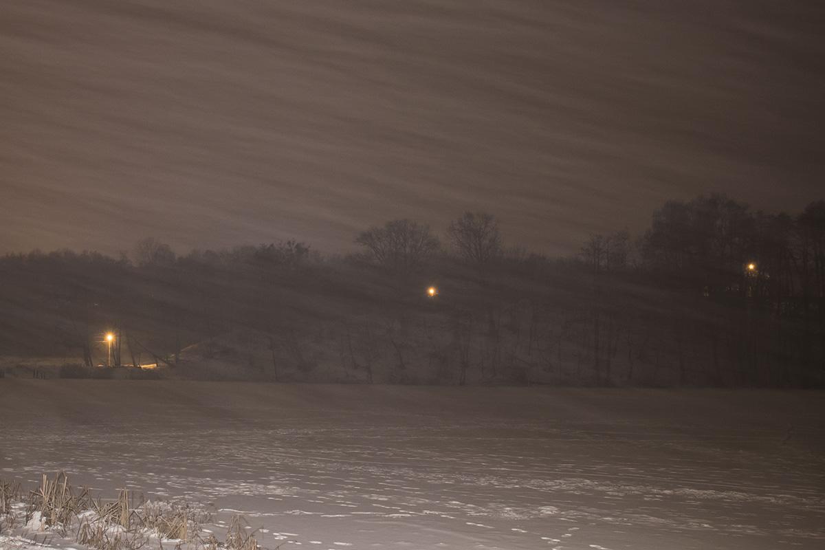 Пруд снова заметает снегом - только камыш выдает, что где-то рядом вода