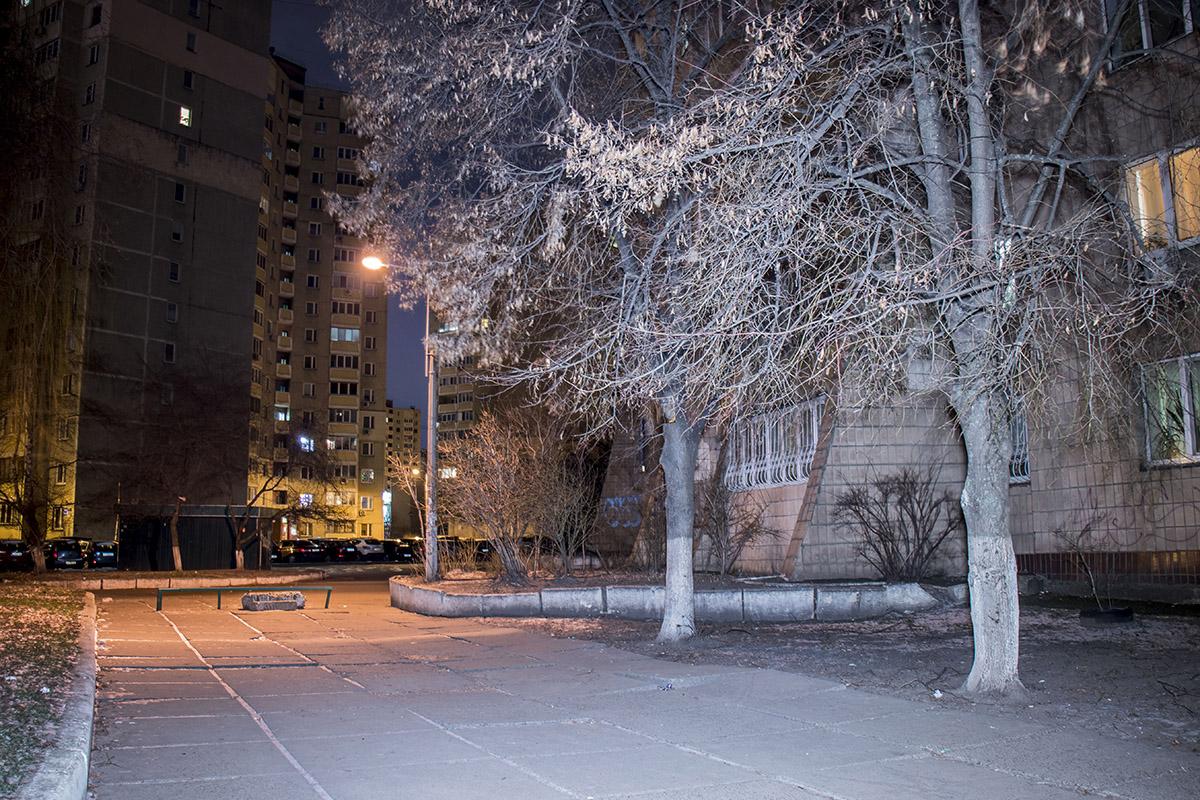 Ночью спокойствие дворов и парков ничто не нарушает