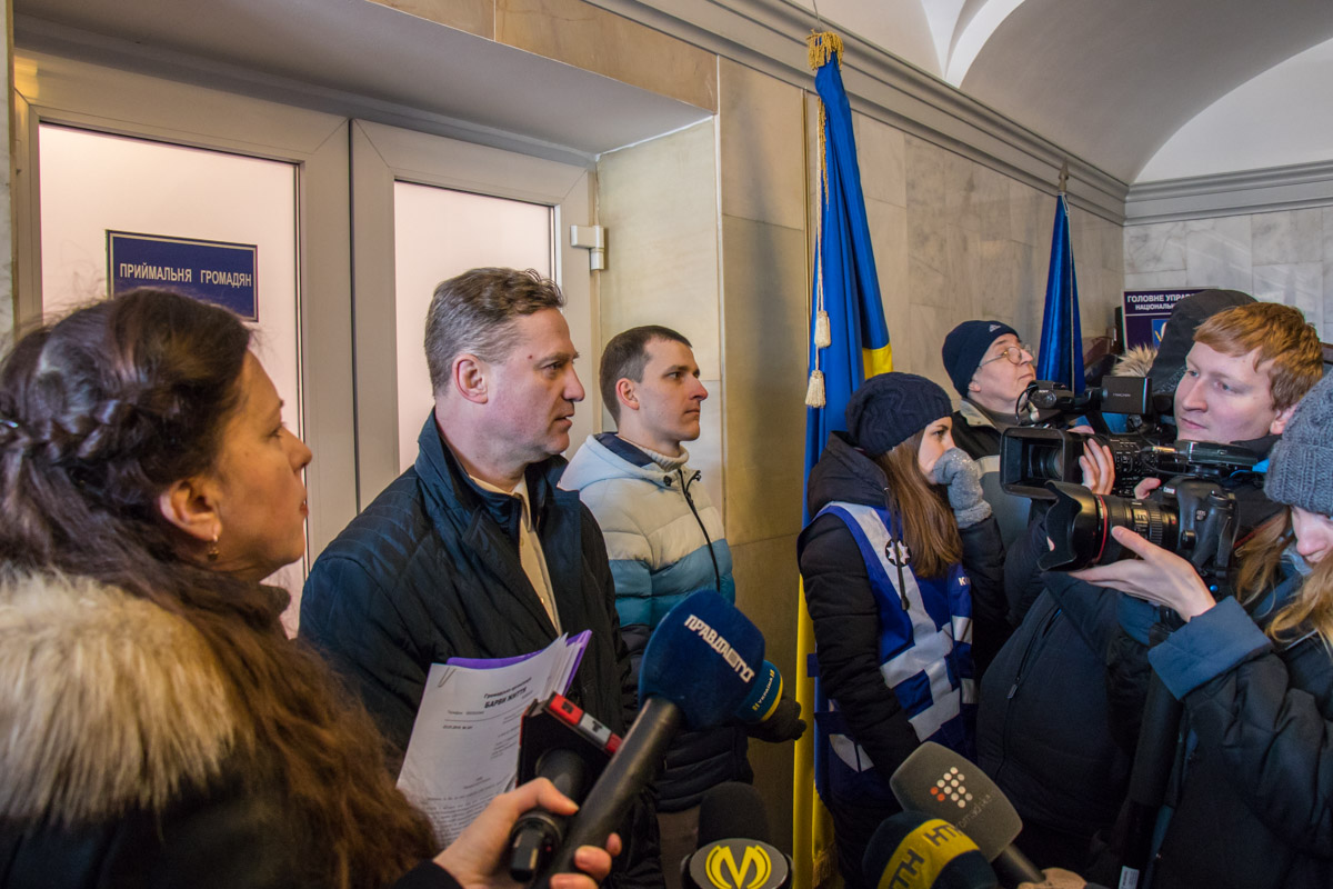 Митингующие требовали отчет по уголовному производству по факту обвала перекрытия и гибели человека на Богдана Хмельницкого