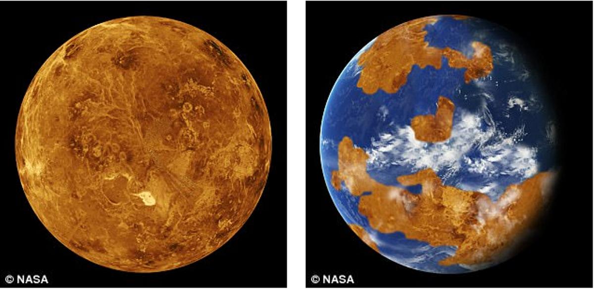 Через 200 лет жарасделает Землю похожей на Венеру (слева)