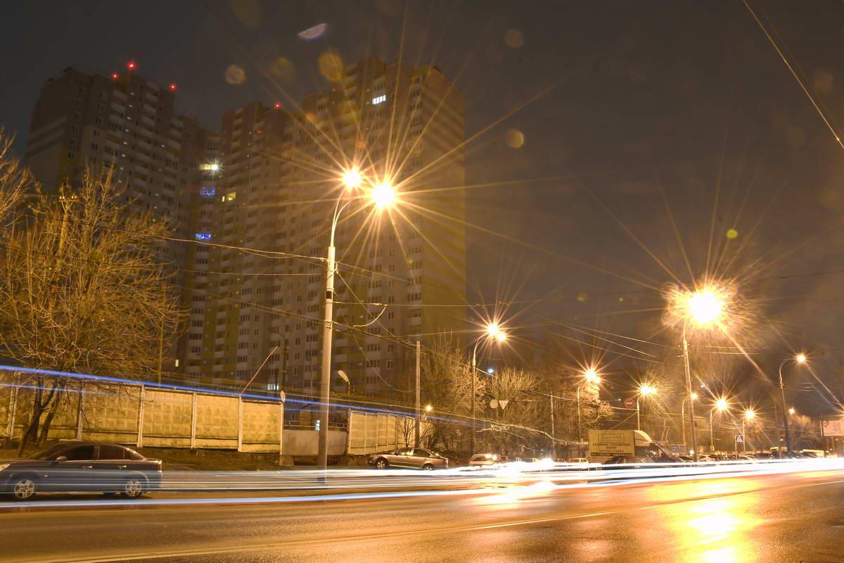 Огни большого города на проспекте Науки