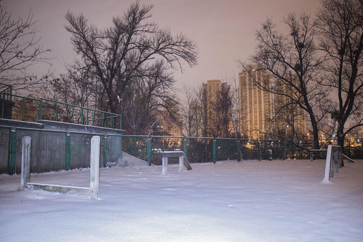 На свежевыпавшем снегу ни одного шажочка
