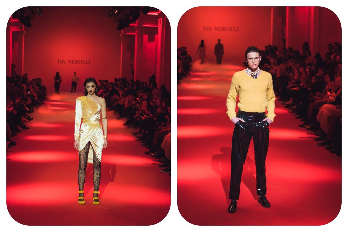 Под платьяИва Неролли предлагает одевать ажурные колготки