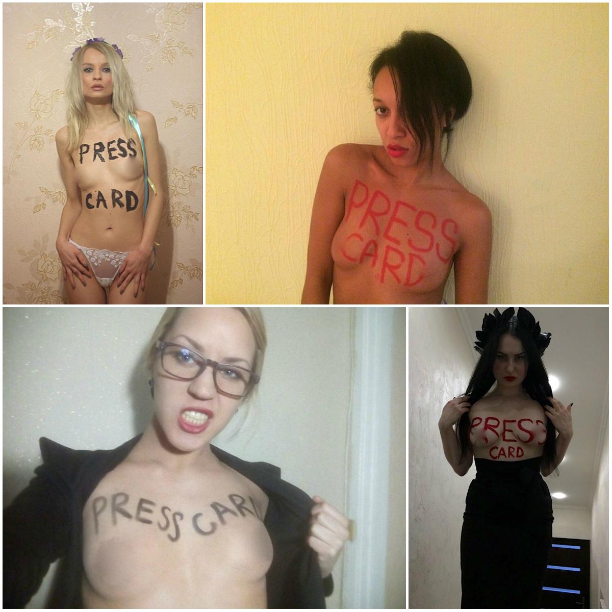 """К посту в Facebook FEMEN прикрепили фотографии своих активисток с надписью на груди """"Пресс-карта"""""""