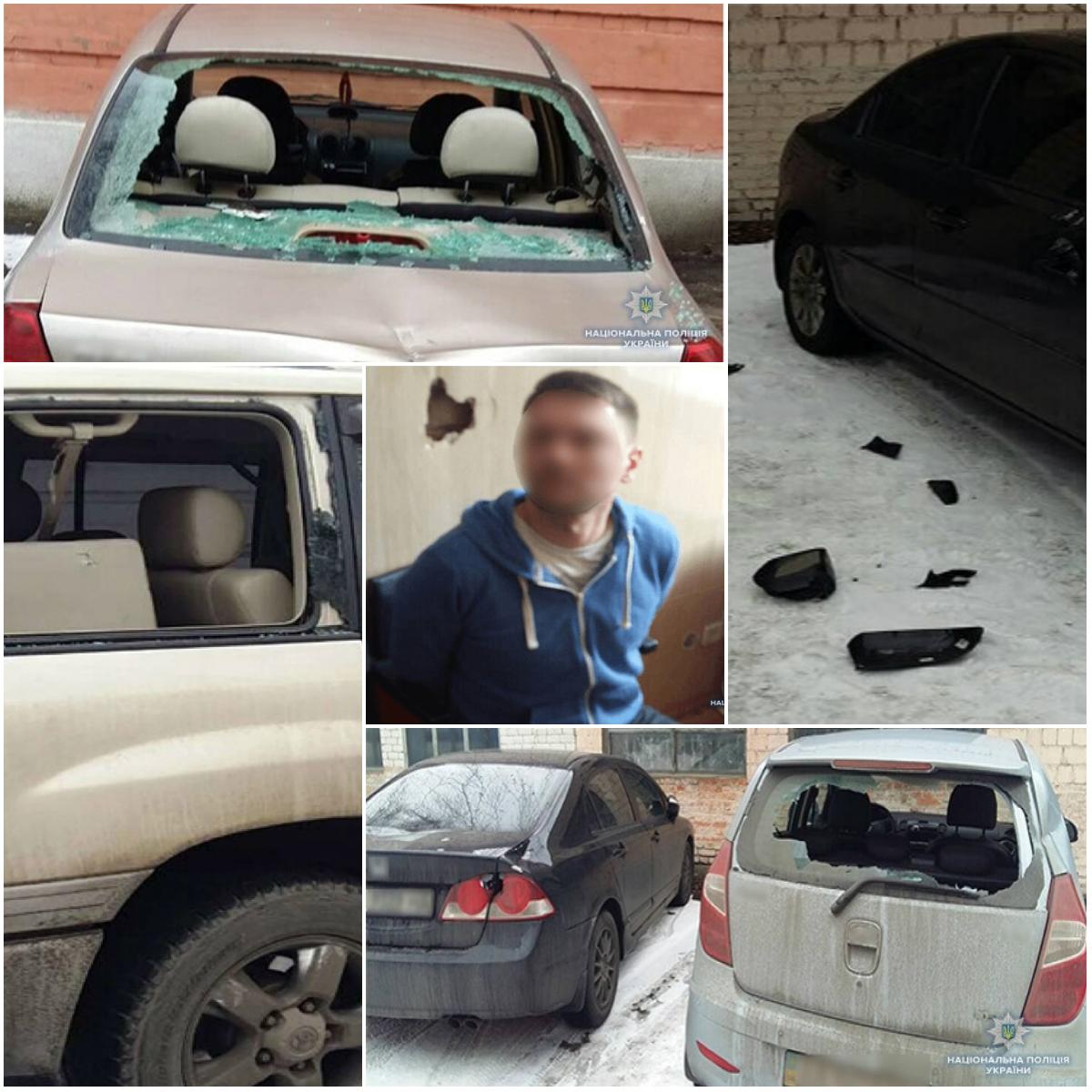 35-летний одессит разбил топором 13 машин возле Соломенского суда