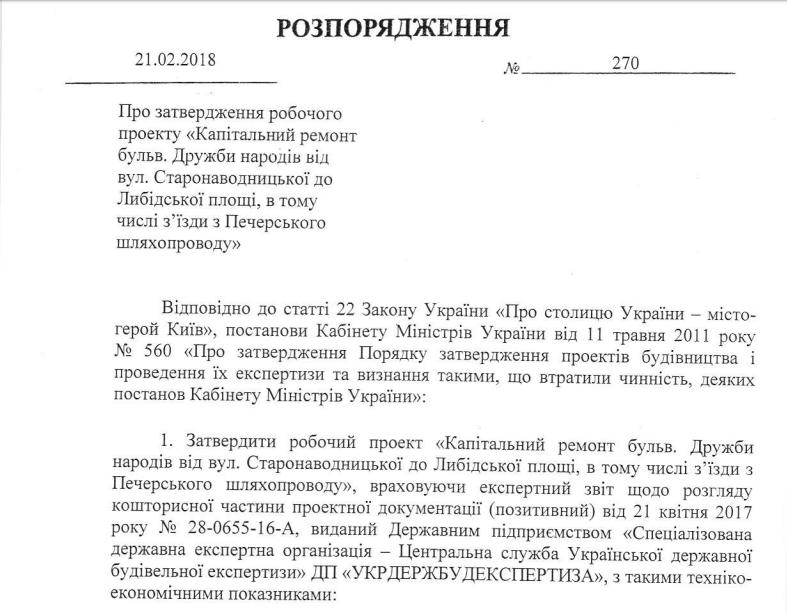 Распоряжение главы Киева от 21 февраля 2018 года
