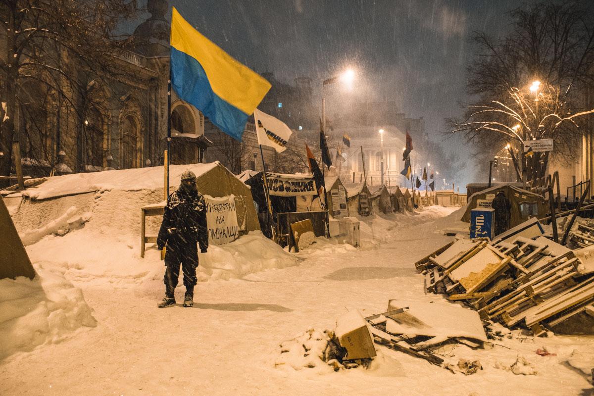 Палатки убрали практически до улицы Грушевского