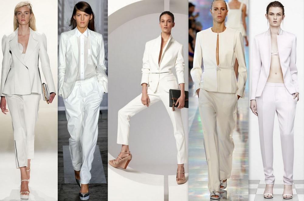Брючные костюмы лучше выбирать в белом цвете