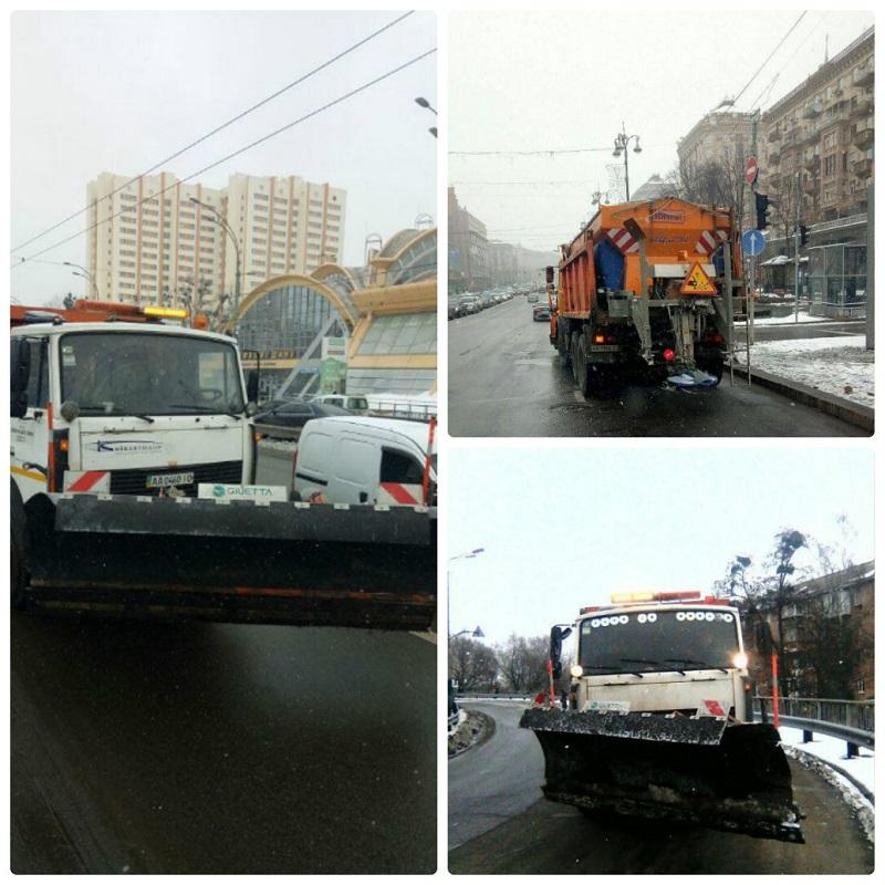 В связи с ухудшением погодных условий, к уборке дорог на улицах Киева приступила спецтехника