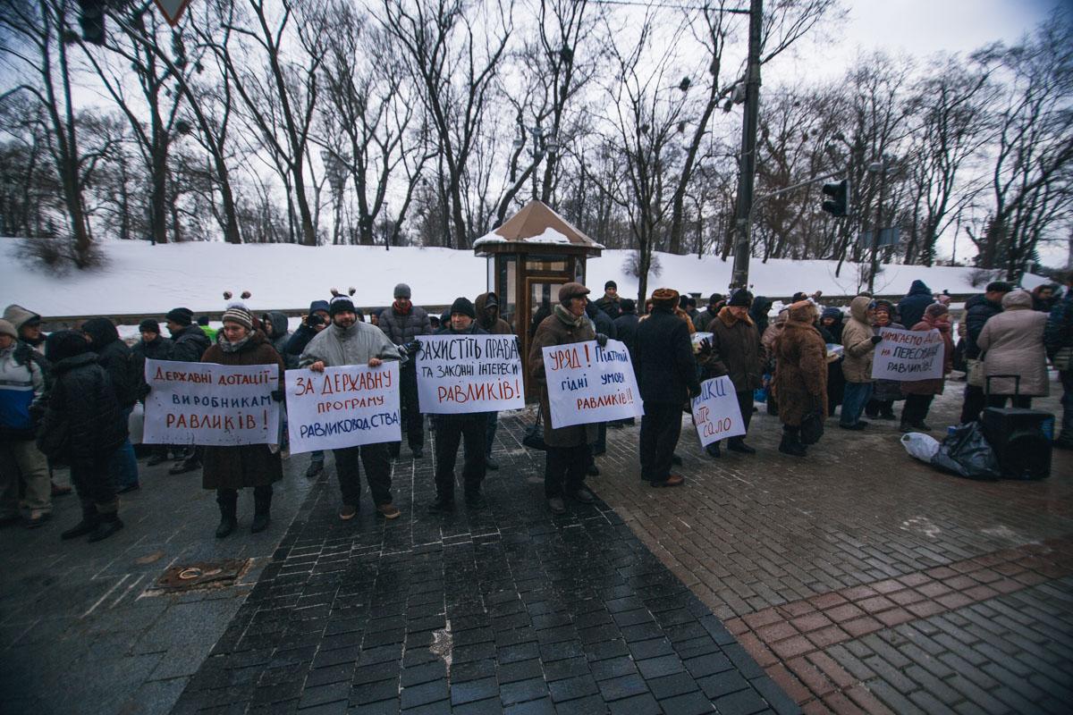 Митингующие были с транспарантами