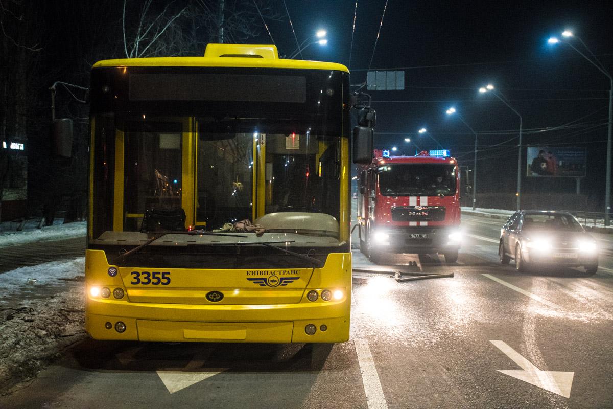 В момент пожара внутри троллейбуса не было пассажиров