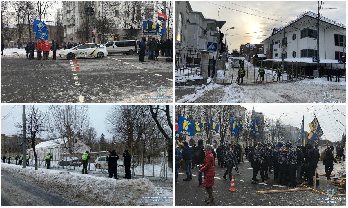 В центре Киева дежурят правоохранители и перекрыто движение