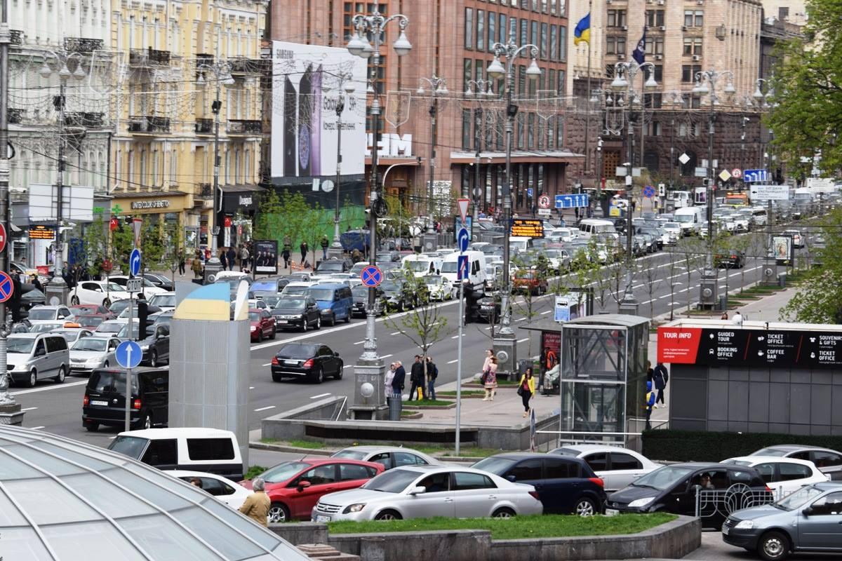 """В центре Киева образовалась большая """"тянучка"""""""