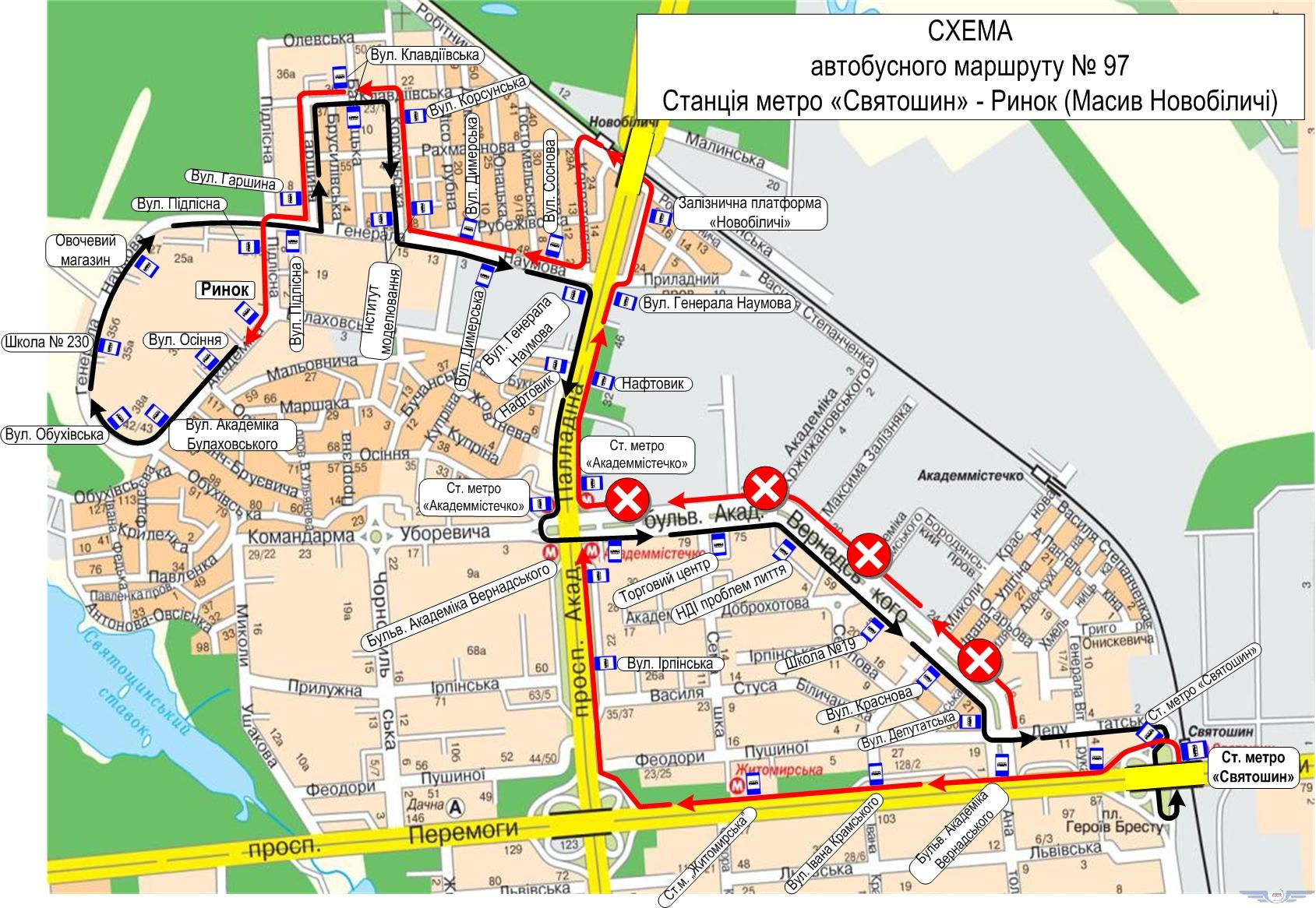 Схема движения автобусов №97 в субботу 28 апреля