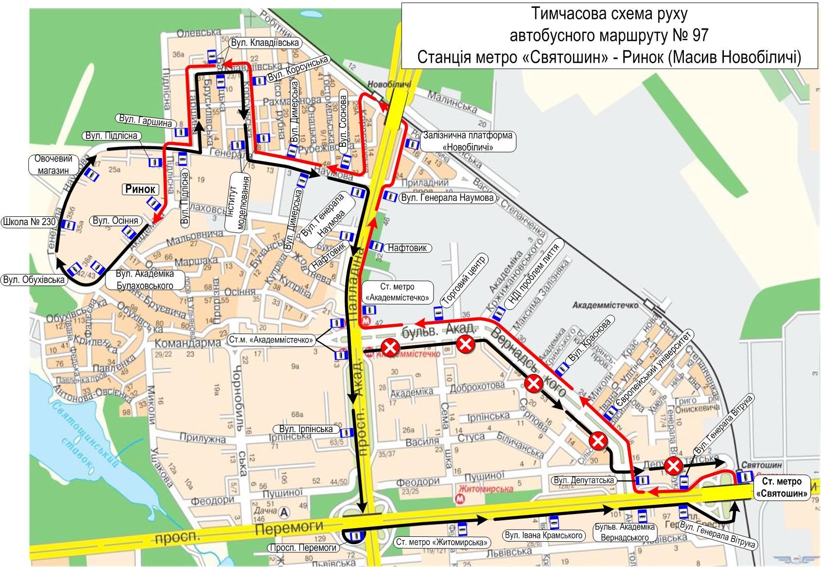 Схема движения автобусов №97 в понедельник 30 апреля
