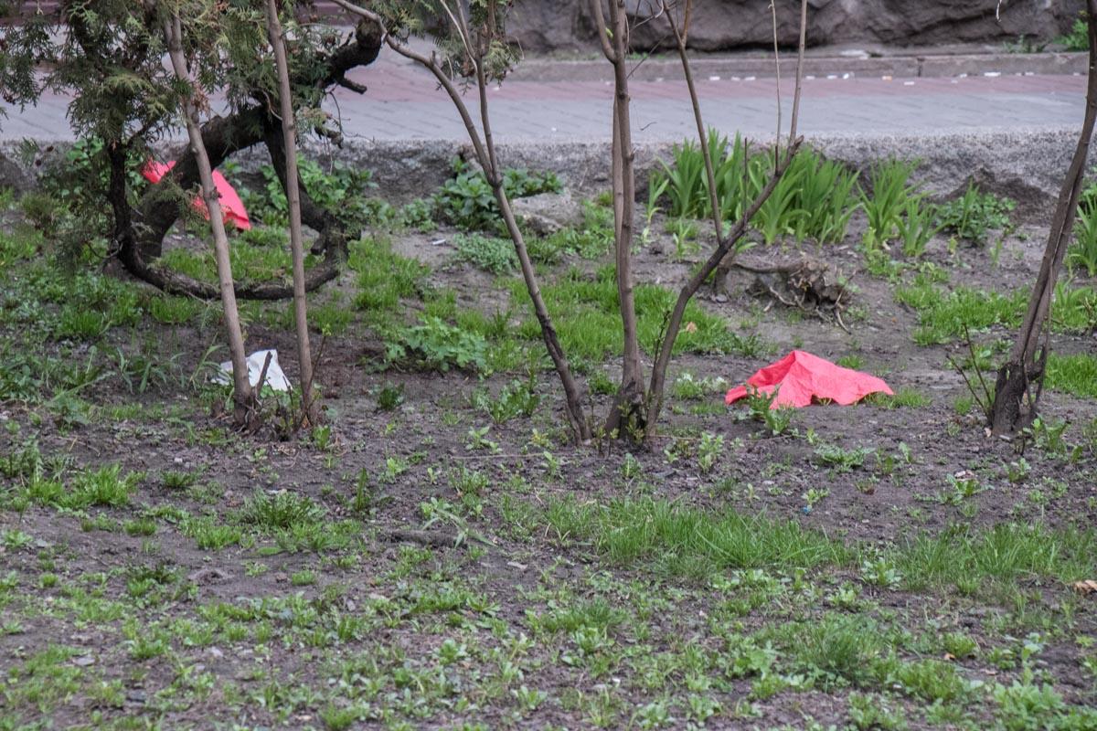 Салфетки парят над землей и садятся на травку у бара