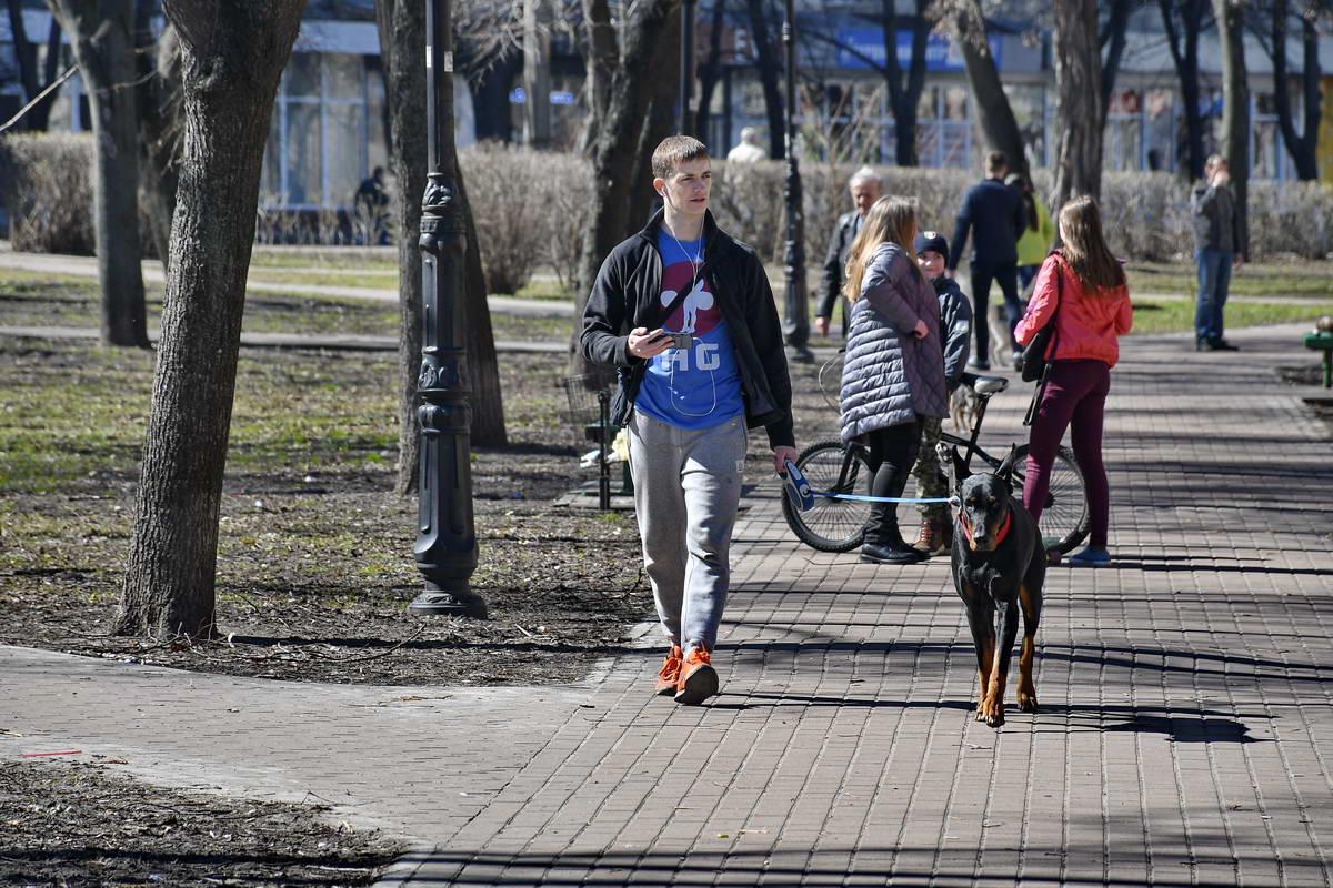 В парке часто прогуливаются с животными