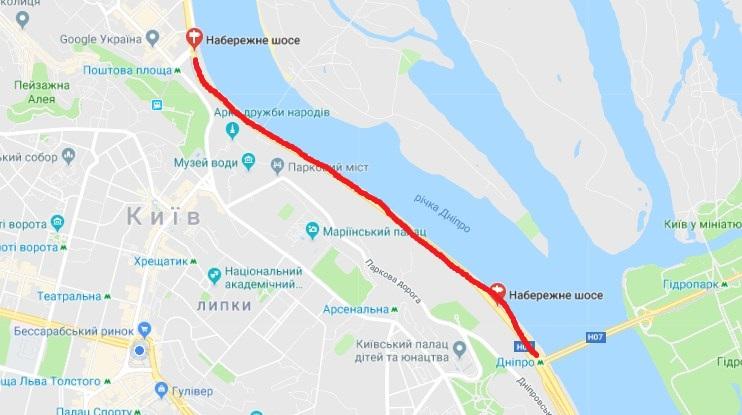 Перекрытие будет на участке от Почтовой площади в направлении станции метро «Днепр»