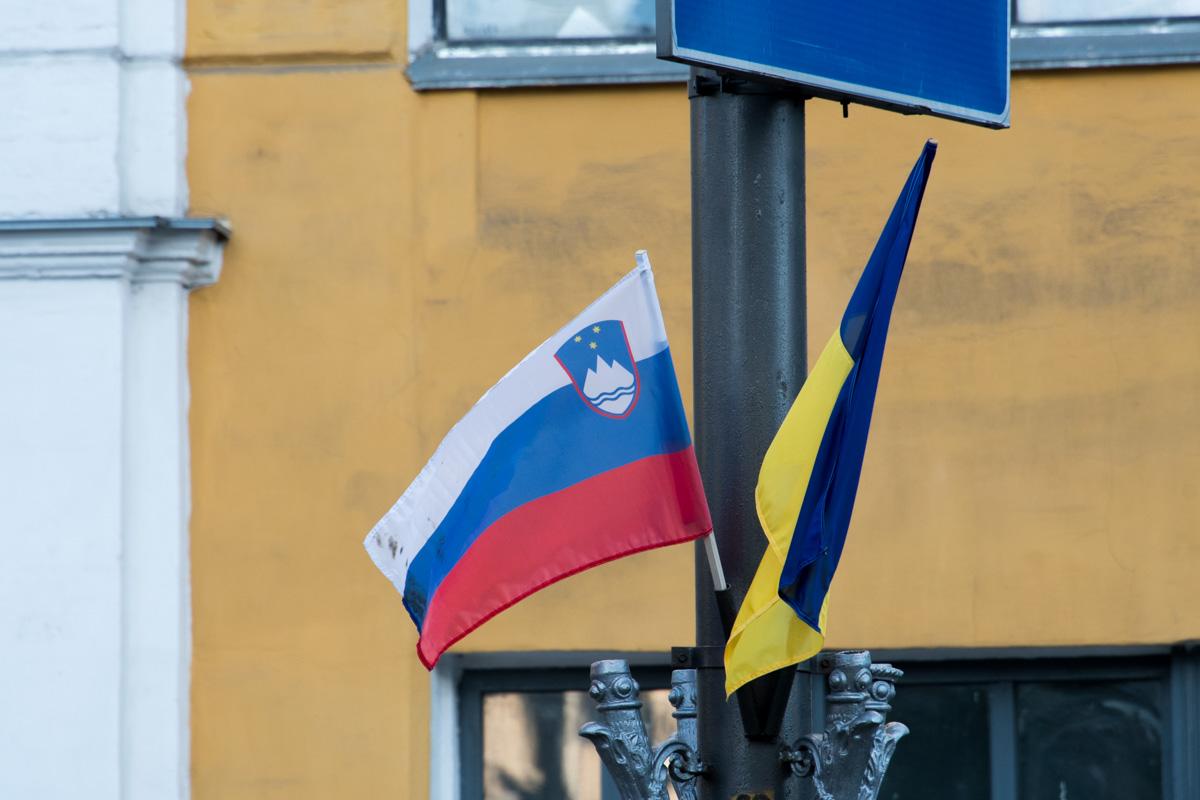 Флаги развесили в честь прибытия в Украину с официальным визитом словенского президента Борута Пахора
