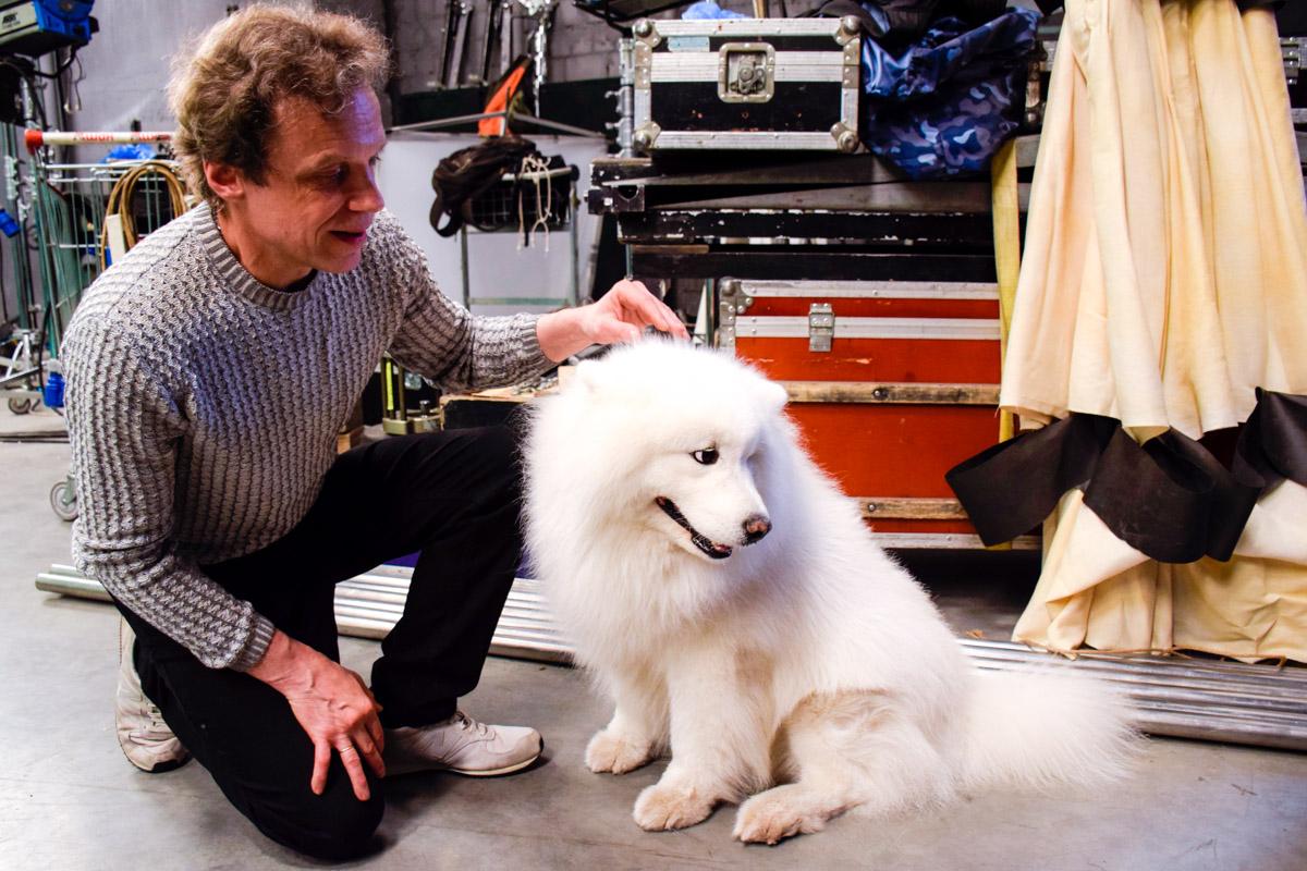 Собака-актер, играющая роль Снежки