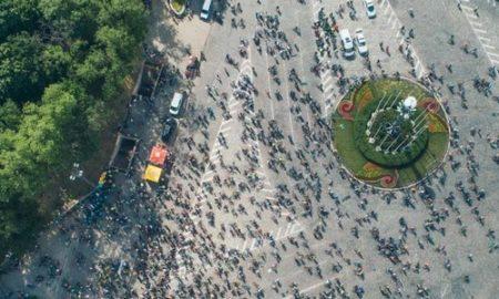 Велодень в Киеве с высоты