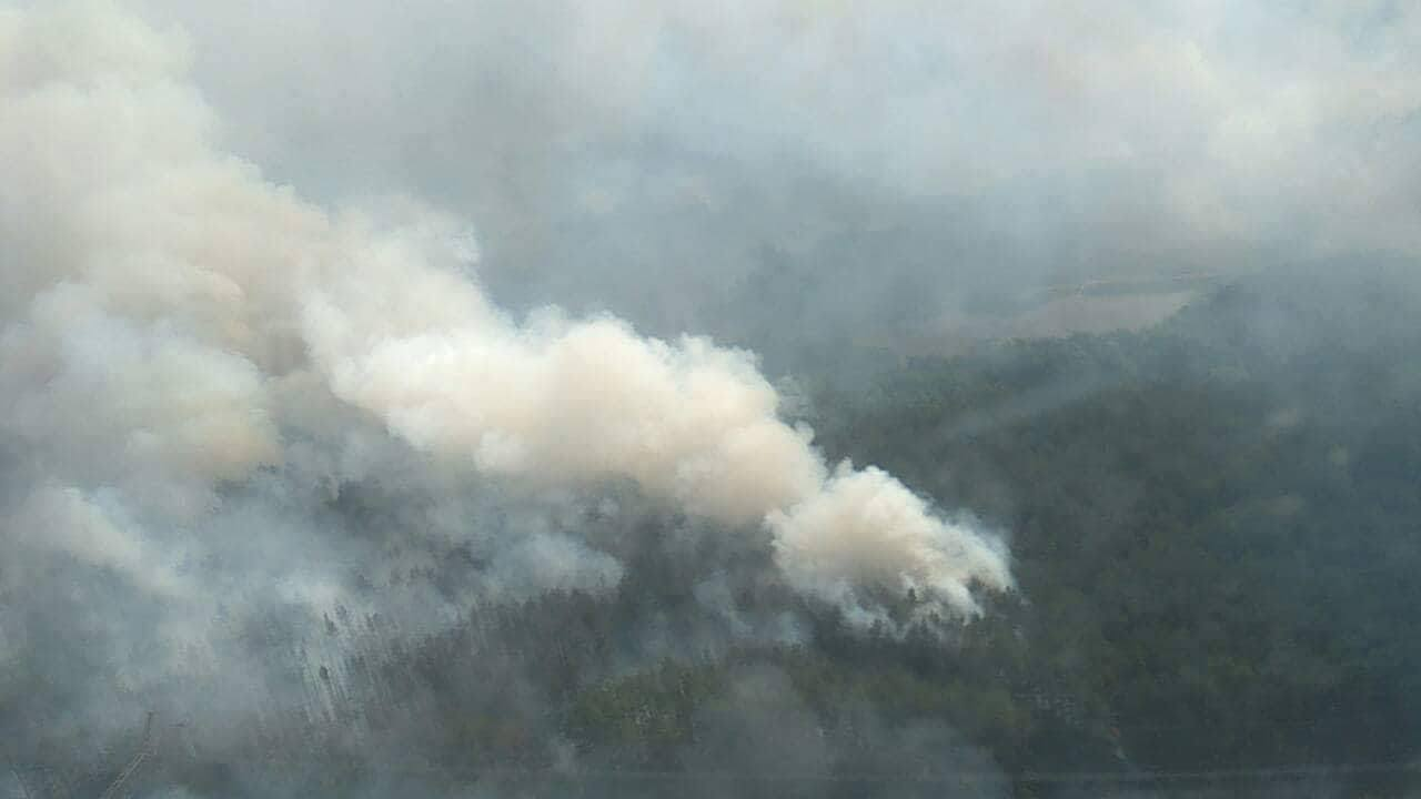 Вид на пожар с высоты