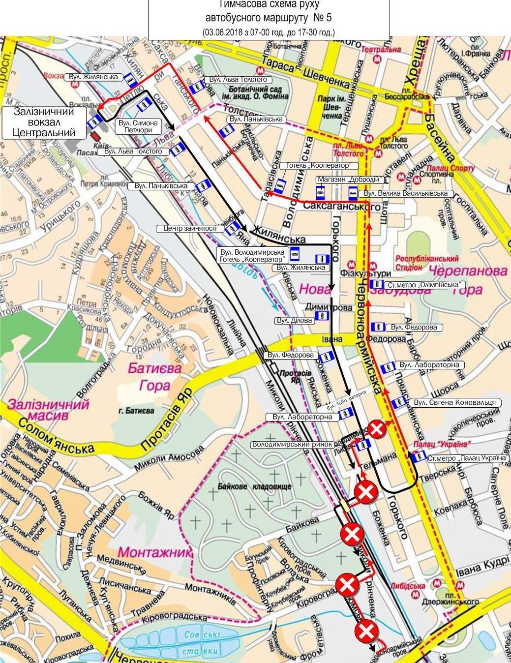 Временная схема проезда автобусов маршрута № 5